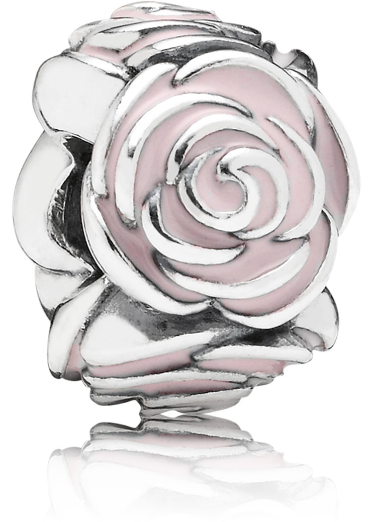 Pandora Charm Rose rosa Blüte Silber-Element