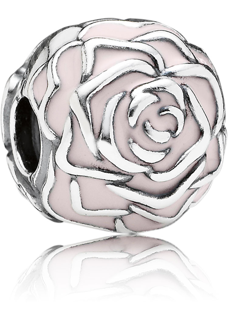 Pandora Charm Clip Rose rosa Blüte Silber-Element